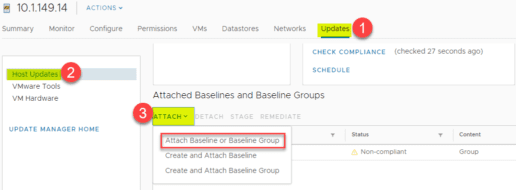 Attaching-a-baseline-or-baseline-group-to-upgrade-ESXi-to-vSphere-6.7-Update2 Upgrade VMware vSphere ESXi to 6.7 Update 2 with VUM New Features