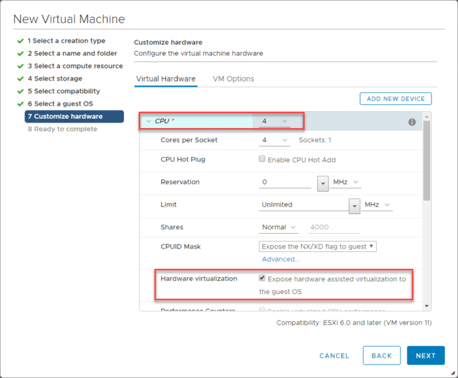Customizing-the-CPU-configuration-for-Nutanix-CE Install Nested Nutanix CE in VMware vSphere ESXi 6.7 Update 1