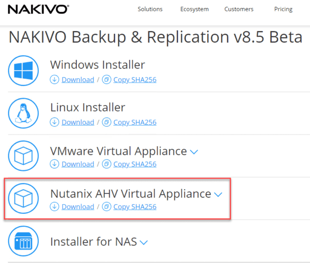 Download-NAKIVO-as-a-Nutanix-AHV-virtual-appliance NAKIVO Backup and Replication 8.5 Beta Released with Nutanix Support