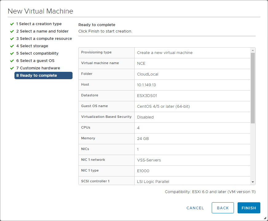 Finishing-the-initial-VM-creation-wizard-for-Nutanix-CE Install Nested Nutanix CE in VMware vSphere ESXi 6.7 Update 1