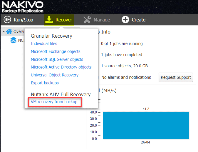 Kicking-off-the-Nutanix-AHV-VM-restore-process-in-NAKIVO Backup and Restore Nutanix VMs with NAKIVO