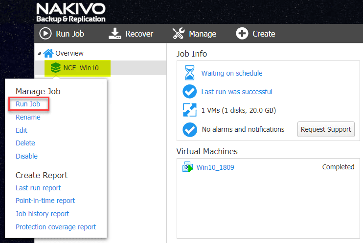 Kicking-off-the-run-of-the-Nutanix-AHV-VM-backup-job Backup and Restore Nutanix VMs with NAKIVO