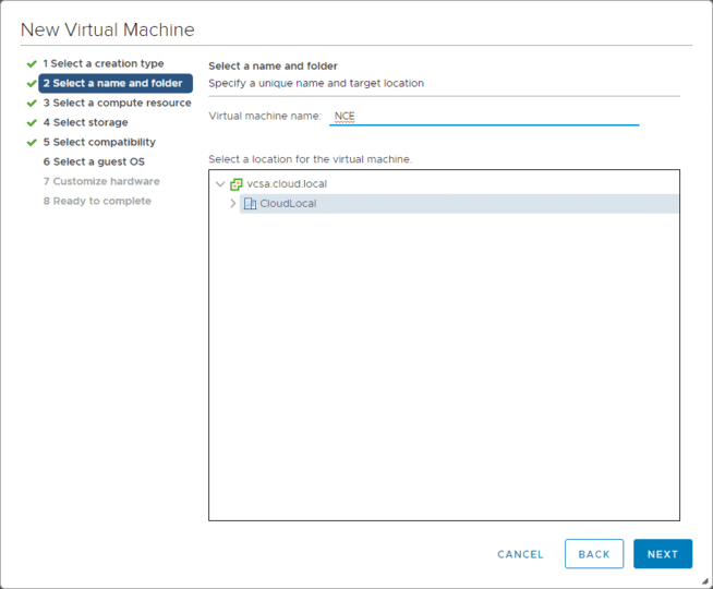 Name-the-VM-and-select-the-folder-in-teh-datacenter-for-housing-it Install Nested Nutanix CE in VMware vSphere ESXi 6.7 Update 1