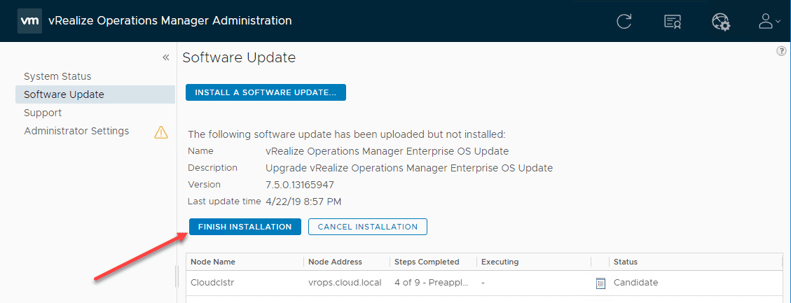 Restarting-the-installation-if-authentication-times-out-for-VMware-vRealize-Operations-Manager-7.5-upgrade