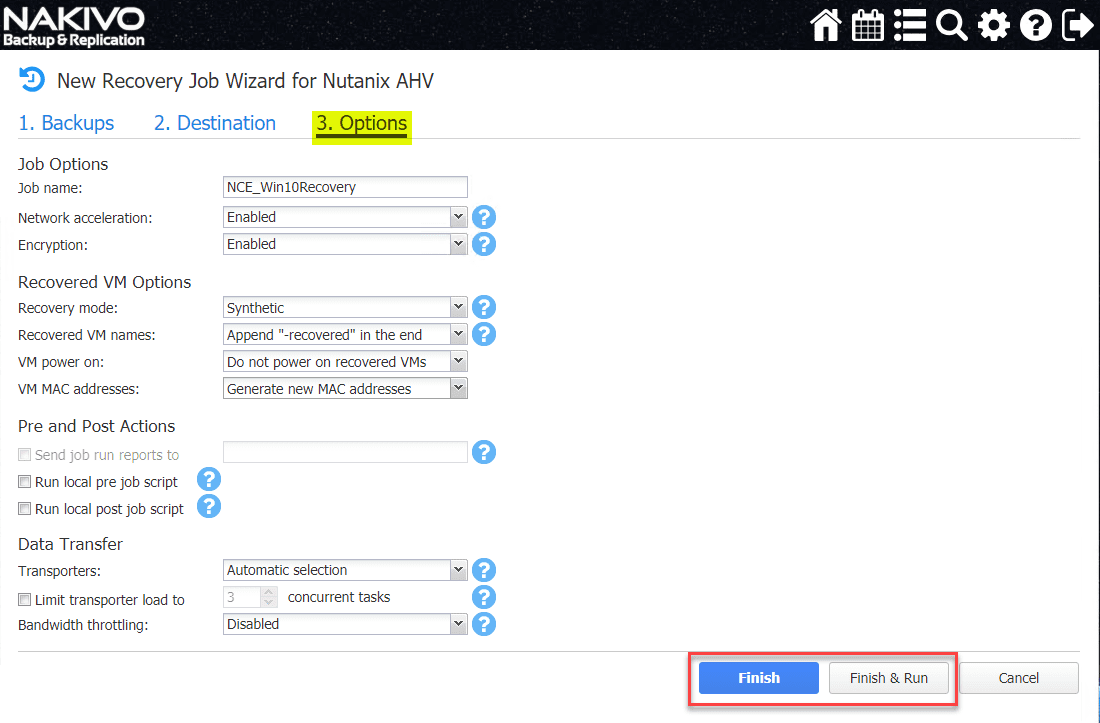 Select-the-Nutanix-AHV-recovery-job-options-in-NAKIVO Backup and Restore Nutanix VMs with NAKIVO