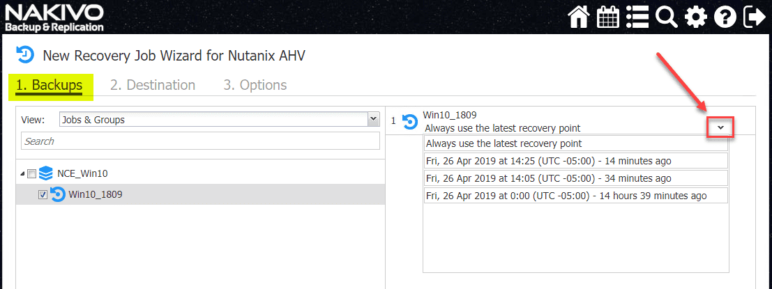 Select-the-Nutanix-AHV-restore-point-you-want-to-restore-using-NAKIVO Backup and Restore Nutanix VMs with NAKIVO