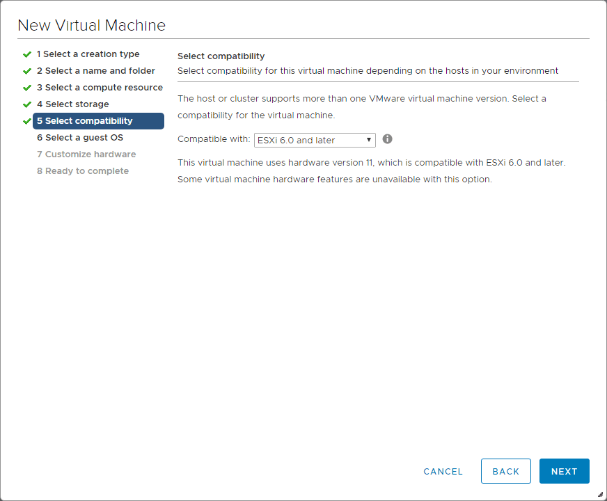 Select-the-compatibility-mode-for-the-Nutanix-CE-nested-isntallation Install Nested Nutanix CE in VMware vSphere ESXi 6.7 Update 1