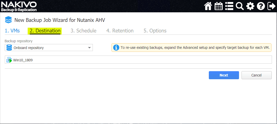 Select-the-destination-NAKIVO-backup-repository Backup and Restore Nutanix VMs with NAKIVO