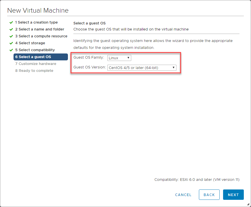 Select-the-guest-OS-for-Nutanix-CE Install Nested Nutanix CE in VMware vSphere ESXi 6.7 Update 1