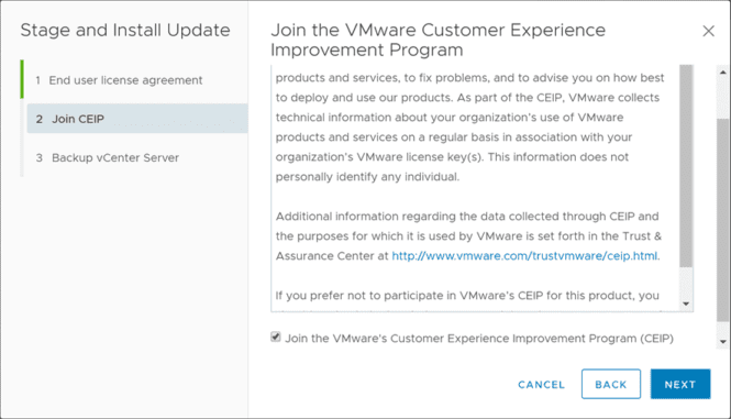 Step-2-of-Stage-and-Install-updates-Join-CEIP-program Upgrade to VMware vSphere vCenter VCSA 6.7 Update 2 with VAMI