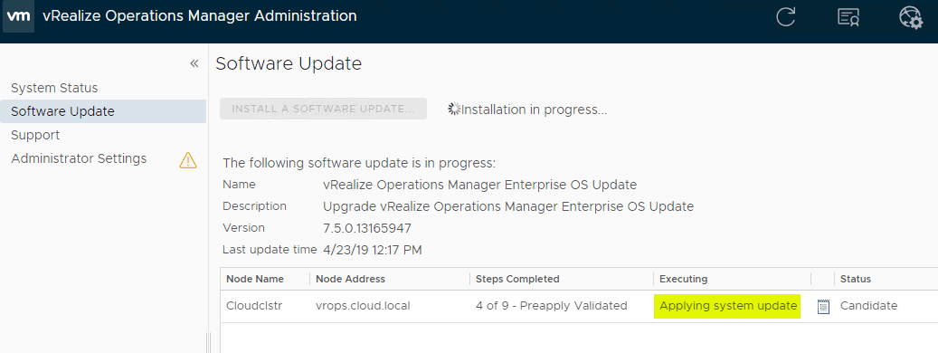System-update-for-vROPs-7.5-OS-PAK-update-begins-applying