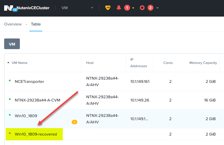 The-recovered-Nutanix-AHV-VM-appears-in-the-Nutanix-Prism-interface-under-the-VM-inventory Backup and Restore Nutanix VMs with NAKIVO