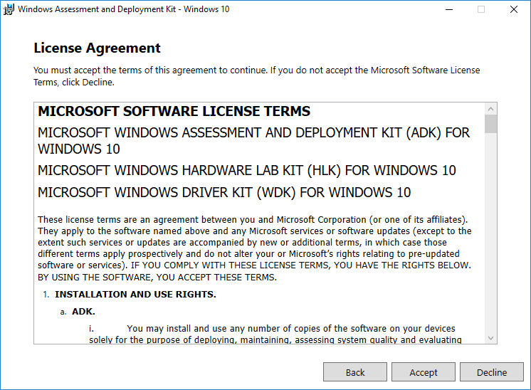Accept-the-Windows-Assessment-and-Deployment-Kit-EULA Create Unattend Answer File for Windows Server 2019 Automated Packer Installation