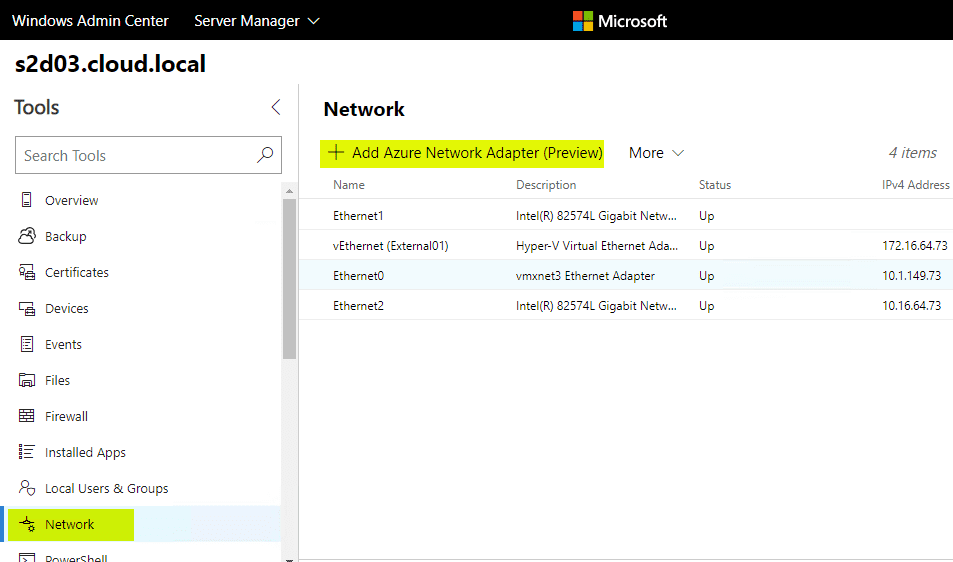 Adding-the-Azure-Network-Adapter-in-Windows-Admin-Center Install and Configure Windows Server 2019 Azure Network Adapter