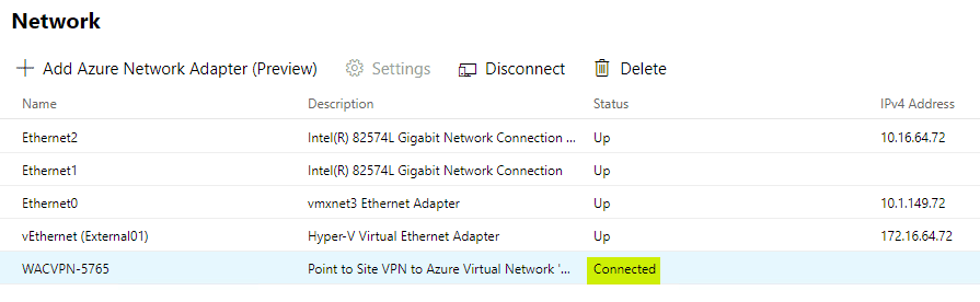 Connected-status-in-Windows-Admin-Center-for-the-Azure-Network-Adapter-Point-to-Site-VPN Install and Configure Windows Server 2019 Azure Network Adapter