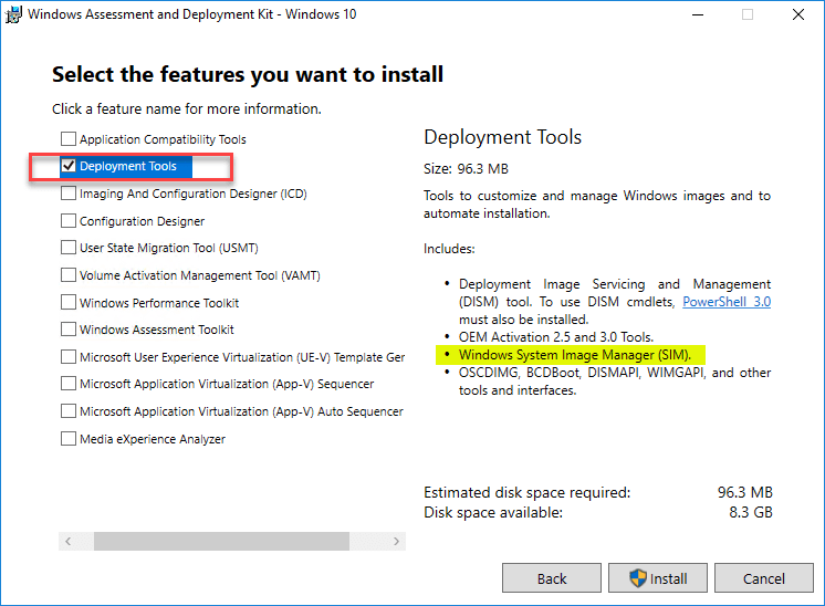 Installing-the-Deployment-Tools-from-the-Windows-Assessment-and-Deployment-Kit Create Unattend Answer File for Windows Server 2019 Automated Packer Installation