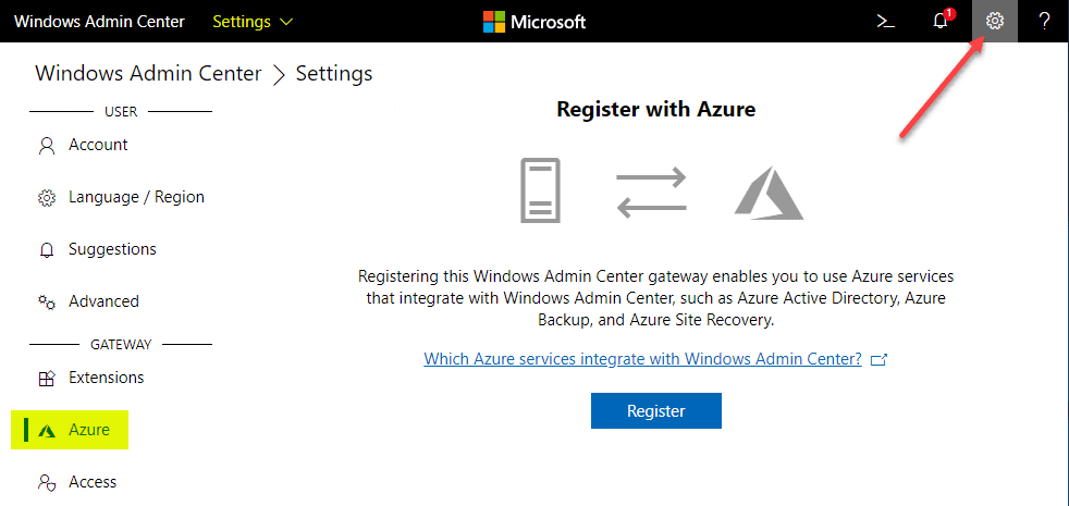 Register-your-Windows-Admin-Center-Account-with-Azure-to-begin-configuring Install and Configure Windows Server 2019 Azure Network Adapter
