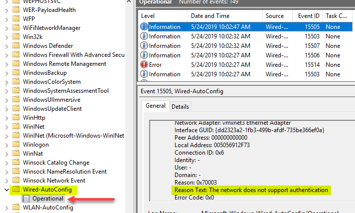 The-network-does-not-support-authentication-with-802.1X-auth Enable VMware Virtual Machine 802.1X Authentication