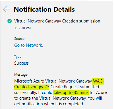 The-notification-of-the-Virtual-Network-Gateway-creation-shows-under-the-notifications-in-Azure Install and Configure Windows Server 2019 Azure Network Adapter