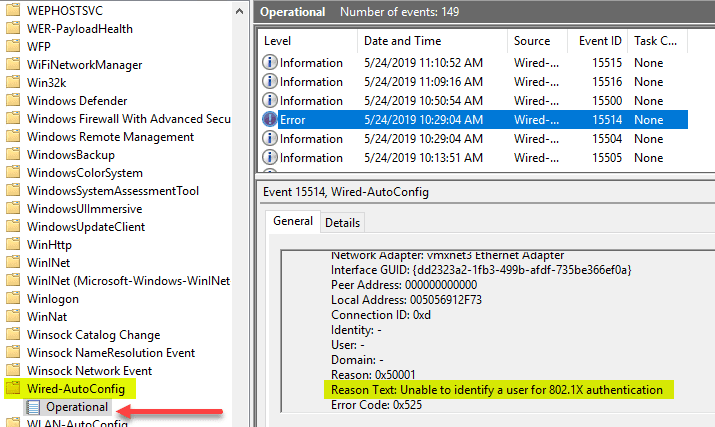 Wired-Autoconfig-log-showing-an-error-applying-802.1X-policy Enable VMware Virtual Machine 802.1X Authentication