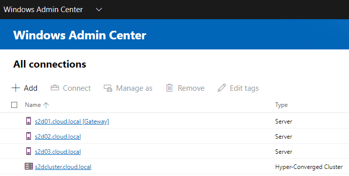 After-adding-the-Storage-Spaces-Direct-cluster-and-hosts-to-Windows-Admin-Center Manage Storage Spaces Direct with Windows Admin Center