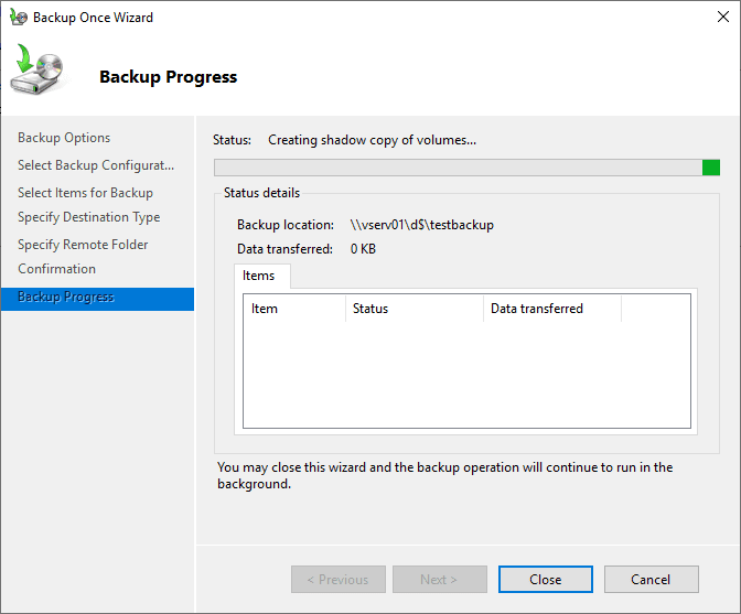 Backup-progress-begins-with-the-Hyper-V-VM-backup-in-Windows-Server-Backup Free Backup Software for Hyper-V Clusters
