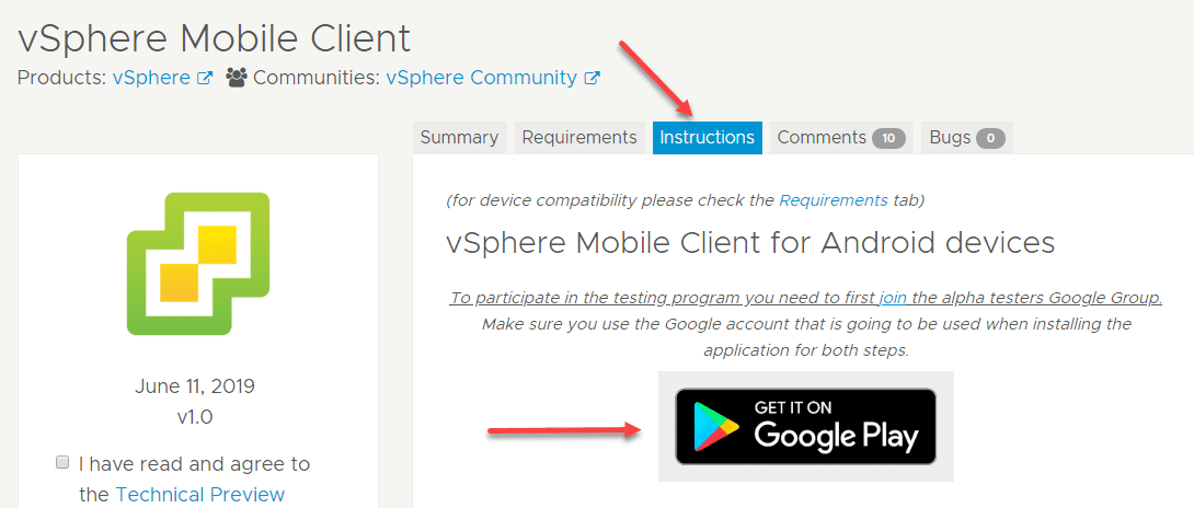 Becoming-a-tester-and-downloading-the-mobile-apps New vSphere Mobile Client Fling with Docker Container Notification Service