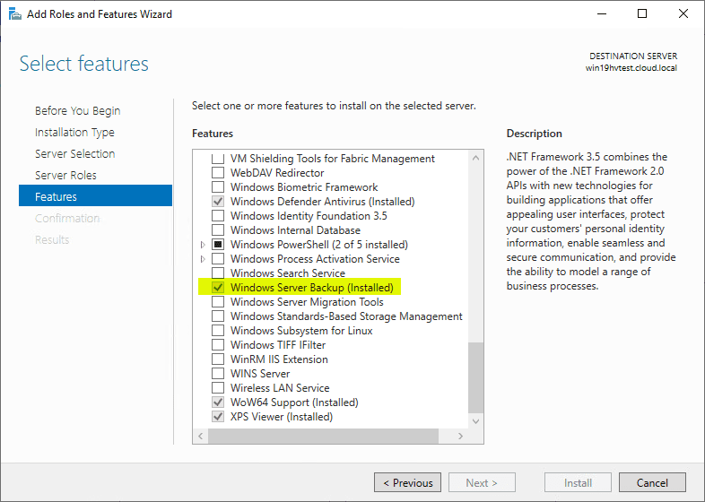 Enable-the-Windows-Server-Backup-Feature-in-Windows-Server-2019 Free Backup Software for Hyper-V Clusters