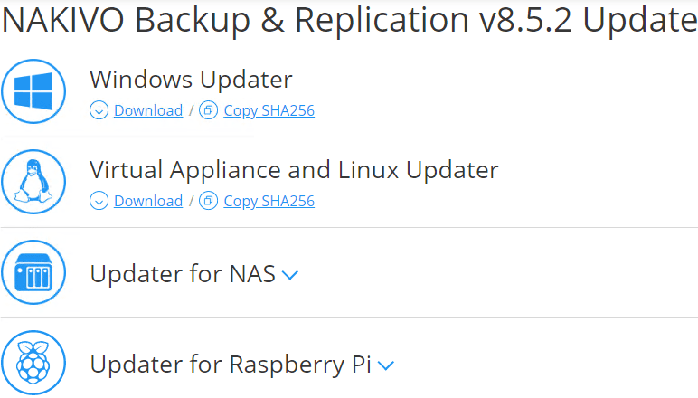 Pulling-the-traditional-updater-files-from-the-NAKIVO-website NAKIVO Backup and Replication v8.5.2 Released with VMware vSphere 6.7 Update 2 Support
