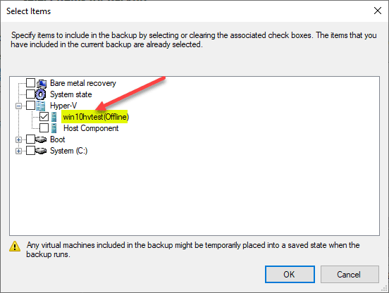 Selecting-a-Hyper-V-VM-to-be-included-in-the-Windows-Server-Backup-job Free Backup Software for Hyper-V Clusters
