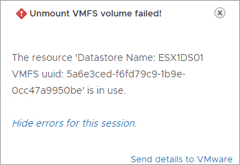 VMware-datastore-the-resource-is-in-use Increase VMware vSAN Space and Performance Add Disks to Disk Group
