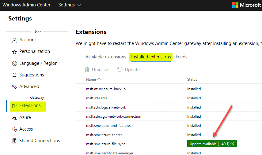 Viewing-extensions-in-Windows-Admin-Center Manage Storage Spaces Direct with Windows Admin Center