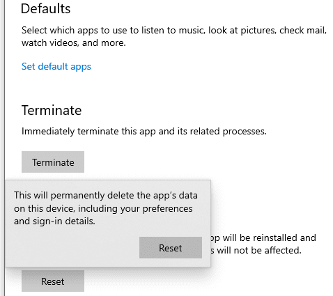 Confirming-the-reset-of-the-Photos-application Windows 10 Photos Package Could Not Be Opened Fix