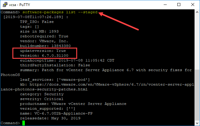 Listing-the-VCSA-patches-that-are-staged-and-the-version-of-VCSA-that-will-be-applied Manually Patch VMware vCenter Server VCSA with ISO