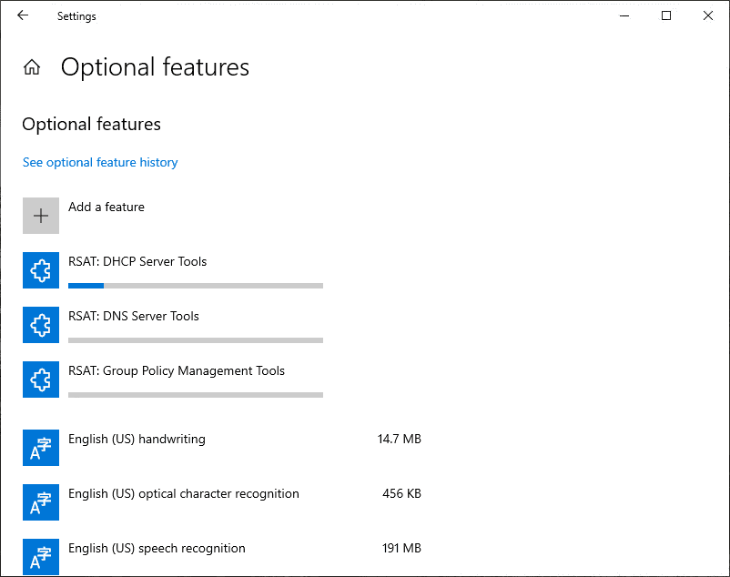 Monitoring-the-progress-of-the-Windows-10-1903-RSAT-installation-with-Features-on-Demand Download Windows 10 1809 1903 RSAT Install Using New Windows FoD