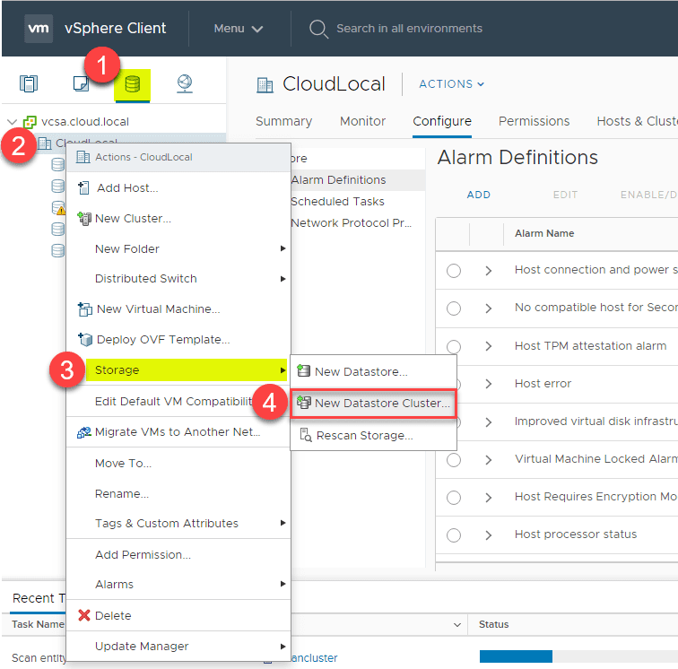 Navigating-to-create-a-new-VMware-datastore-cluster Automate and Manage Capacity and I/O Across VMware Datastores with Storage DRS