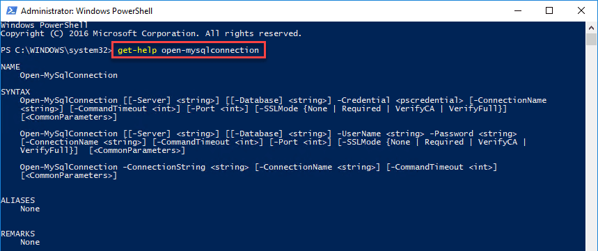 Opening-a-connection-to-MySQL-with-PowerShell-with-the-Open-MySQLConnection-cmdlet How To Query a MySQL Database with PowerShell