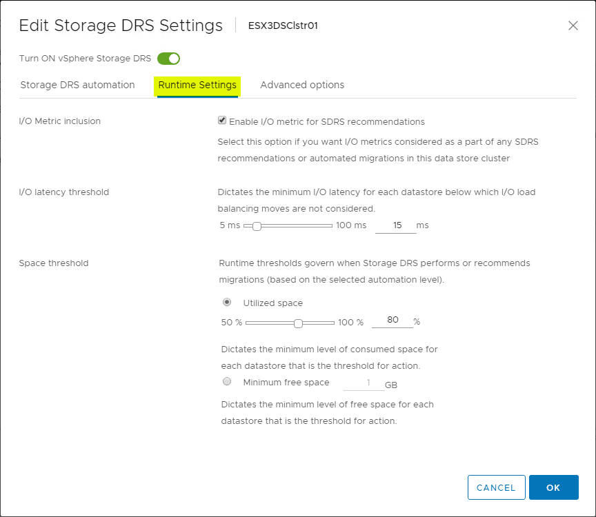 Revisiting-the-Storage-DRS-Runtime-Settings Automate and Manage Capacity and I/O Across VMware Datastores with Storage DRS