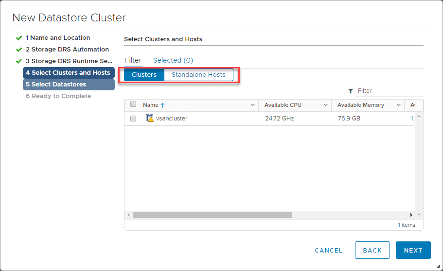 Selecting-clusters-and-hosts-to-add-to-the-datastore-cluster-with-Storage-DRS Automate and Manage Capacity and I/O Across VMware Datastores with Storage DRS