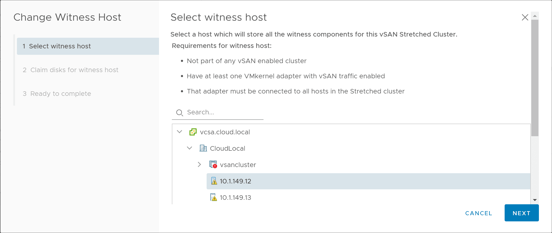 Beginning-the-process-to-change-the-vSAN-witness-host Replacing VMware vSAN Two-Node Witness Host Checklist