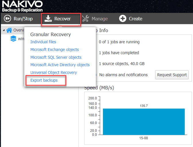 Beginning-the-restore-export-process-of-physical-server-with-NAKIVO-Backup-Replication-v9.0 Easily P2V Physical Windows Servers to VMs with NAKIVO