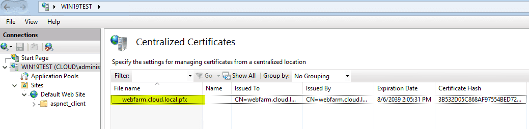 Centralized-Certificates-sees-the-certificates-found-in-the-shared-directory Share SSL Certificates Between Multiple IIS Servers with Centralized Certificates