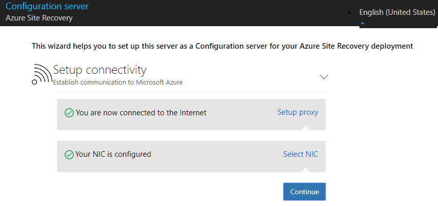 Connectivity-and-network-cards-are-now-configured Configure Azure Site Recovery Configuration Server for VMware Replication