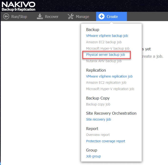 Creating-a-new-physical-server-backup-job-in-NAKIVO Easily P2V Physical Windows Servers to VMs with NAKIVO