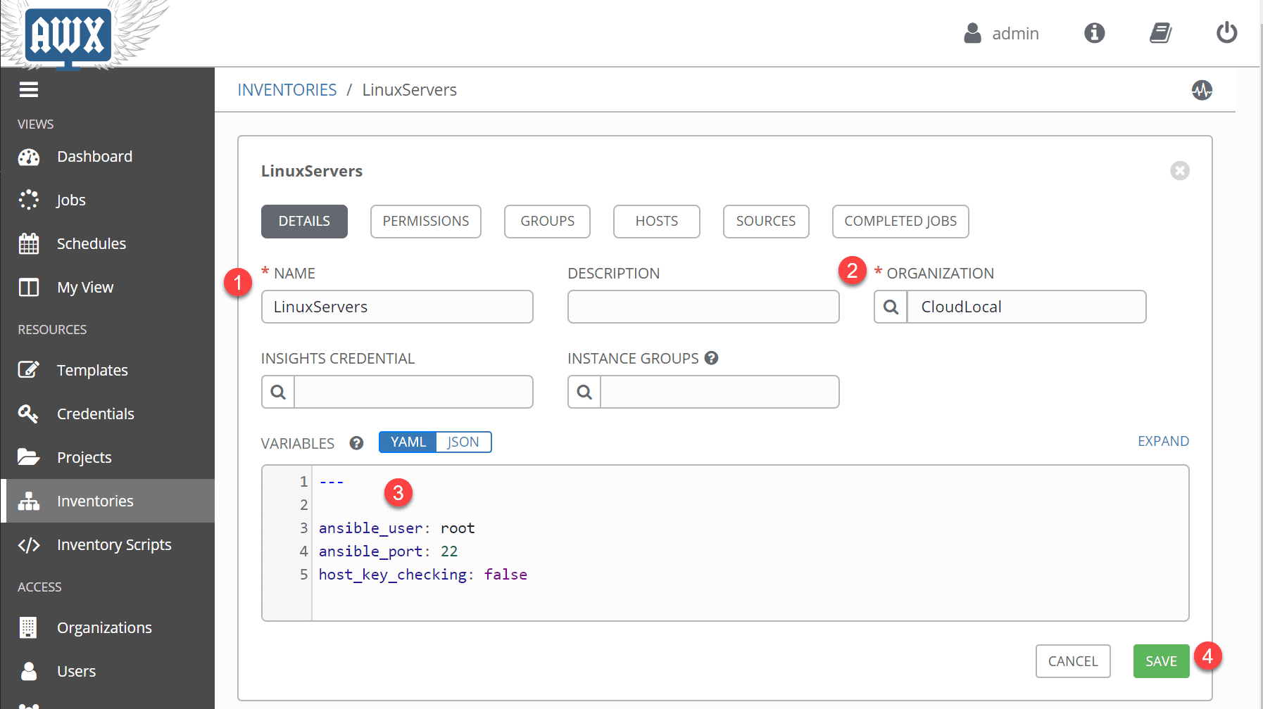 Creating-inventories-in-Ansible-AWX-for-server-connections-and-hosts Use Ansible AWX to Automate Linux Updates and Patches