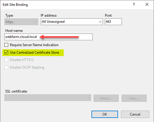 Share SSL Certificates Between Multiple IIS Servers with Centralized