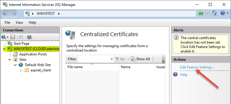 Edit-feature-settings-of-Centralized-Certificate-Store Share SSL Certificates Between Multiple IIS Servers with Centralized Certificates