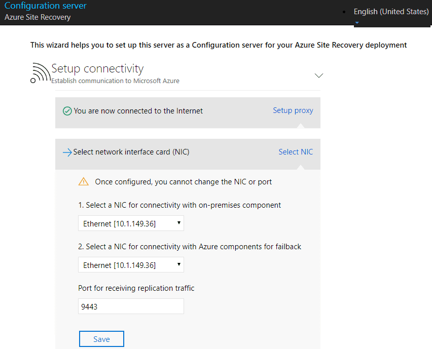 Setting-up-network-cards-for-the-Azure-Site-Recovery-Configuration-Server Configure Azure Site Recovery Configuration Server for VMware Replication