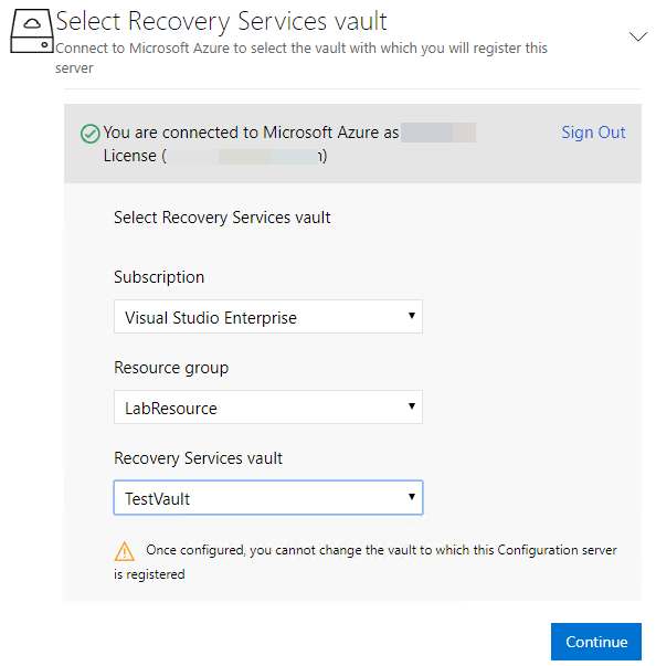 Signed-into-Azure-subscription-resource-group-and-recovery-services-vault-chosen Configure Azure Site Recovery Configuration Server for VMware Replication
