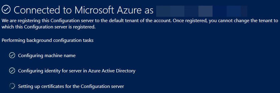 Successfully-connected-to-Microsoft-Azure-during-the-Azure-Site-Recovery-Configuration-Server-setup Configure Azure Site Recovery Configuration Server for VMware Replication